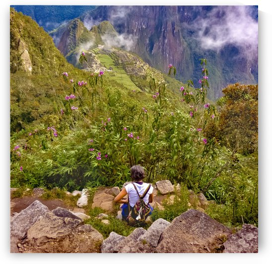 Woman Resting at Highs of Machu Picchu Mountain by Daniel Ferreia Leites Ciccarino