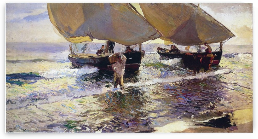 The arrival of the boats by Joaquin Sorolla