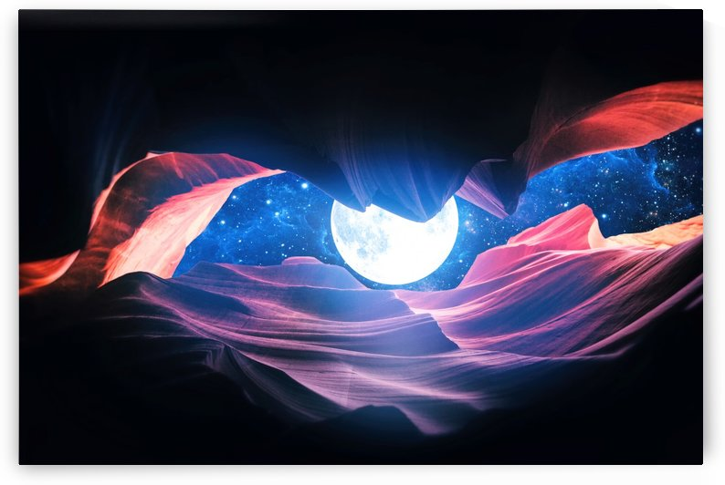 Grand Canyon with Space & Full Moon Collage I   v2 by Art Design Works