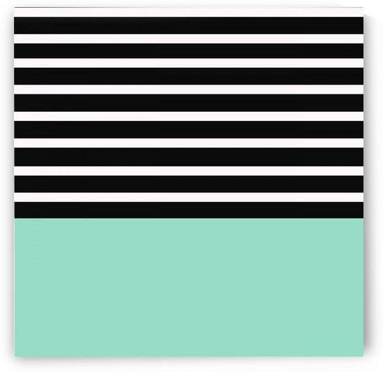Black & White Stripes with Aquamarine Patch by rizu_designs