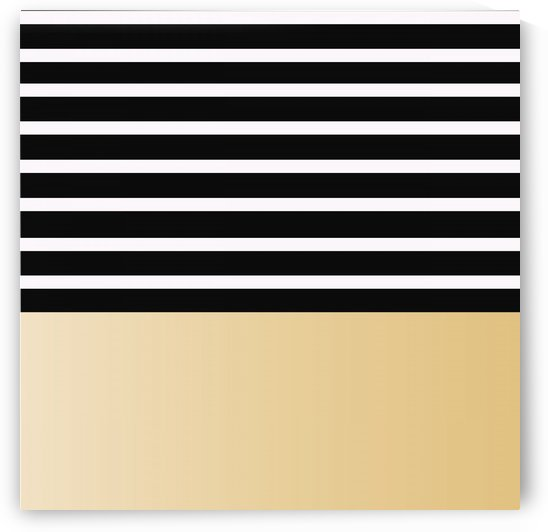 Black & White Stripes with Light Gold Patch by rizu_designs