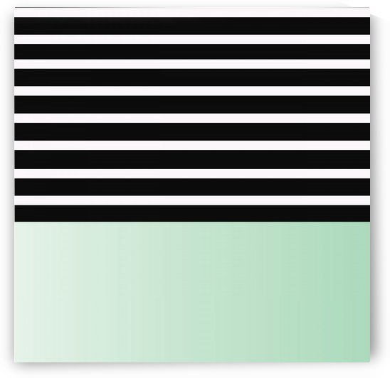Black & White Stripes with Green Patch by rizu_designs