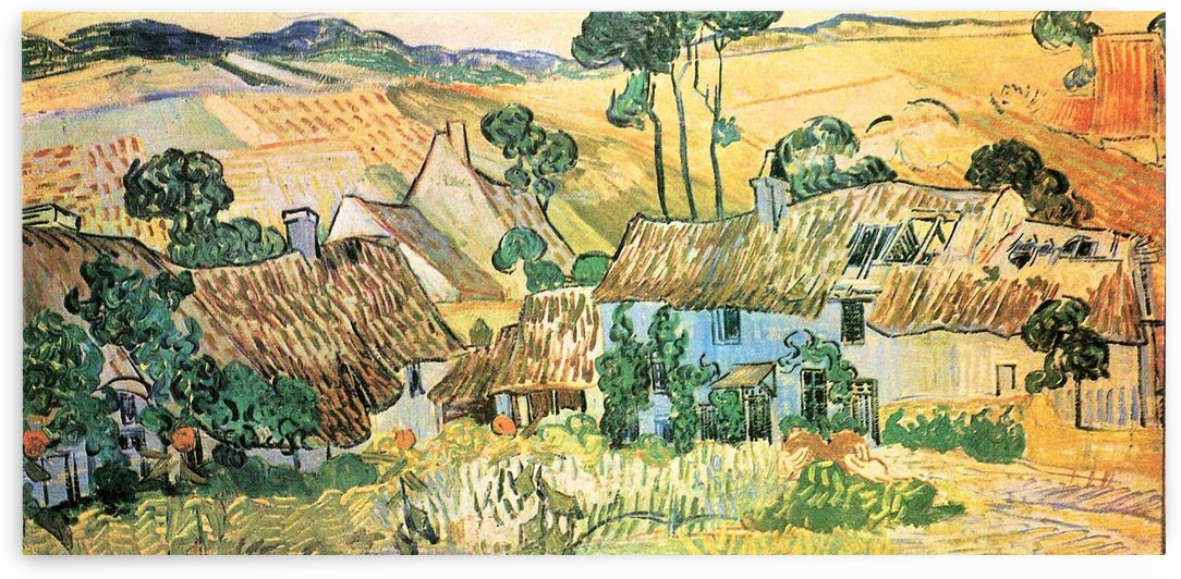 Thatched houses in front of a hill by Van Gogh by Van Gogh