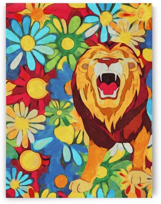 Lion and Flowers Fantasy  by Gabriella David