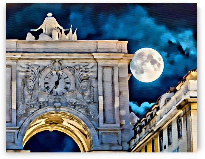 Abstract Arco da Rua Augusta at Night by Darryl Brooks