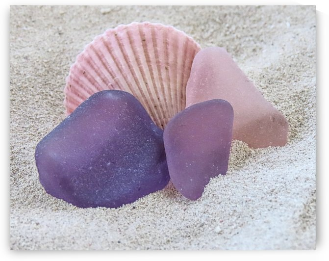 Pink and purple sea glass by Photography by Janice Drew
