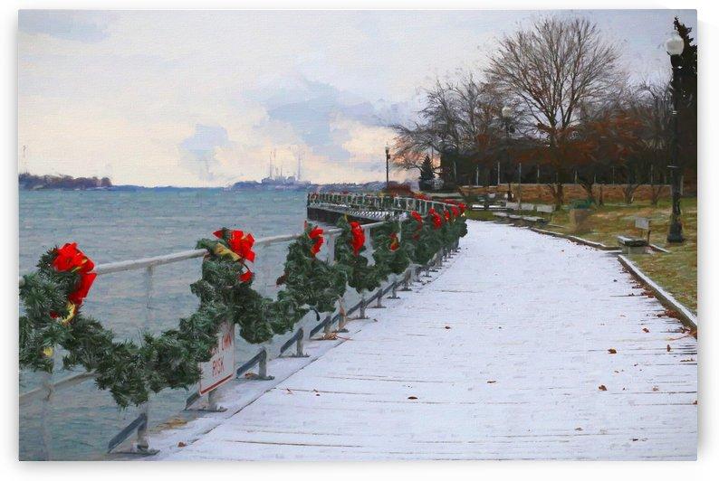 Boardwalk in Winter 2 121017 Painterly by Mary Bedy