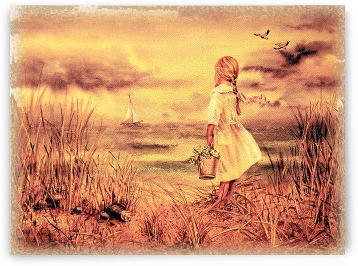 Vintage Watercolor Painting Girl And Ocean by Irina Sztukowski
