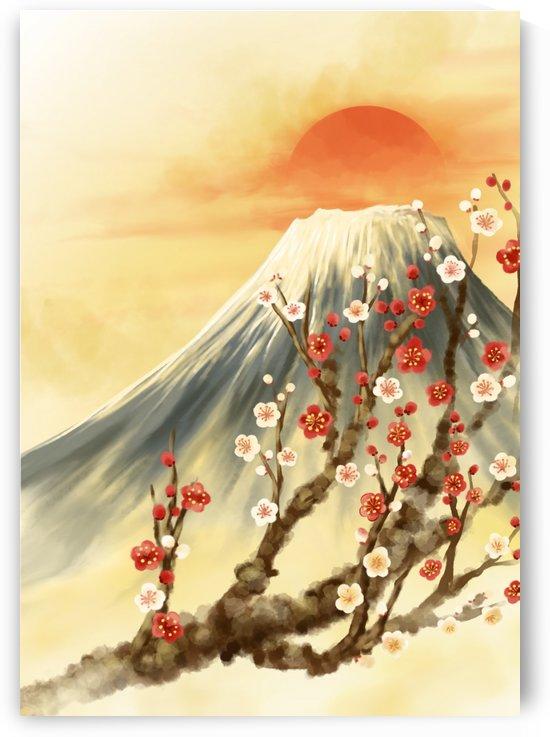 Cherry Blossom Sakura Mount Fuji Art by Wander Eddie