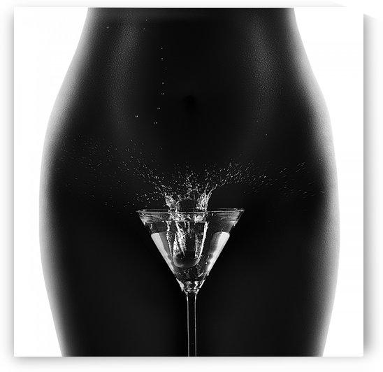 Nude woman with martini splash by Johan Swanepoel