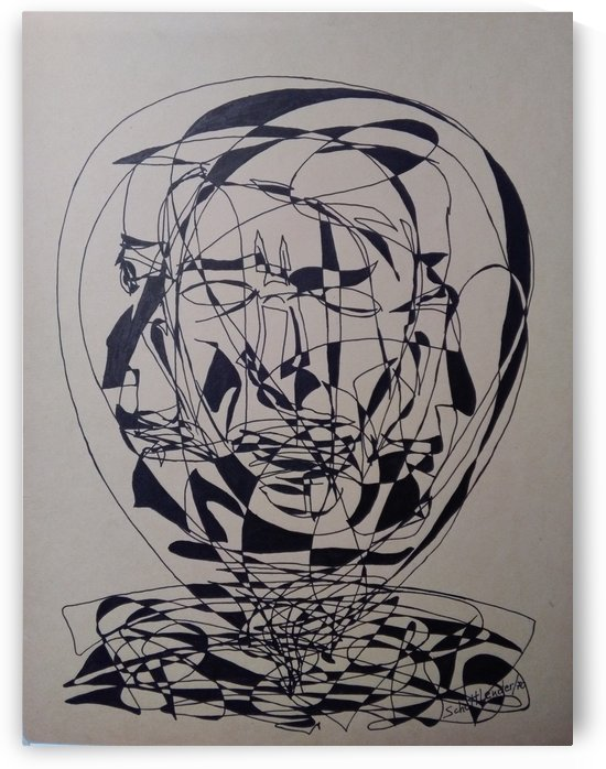 THREE FACES INSIDE A BALL OF GLASS, SPINNING by SCHOTTLENDER