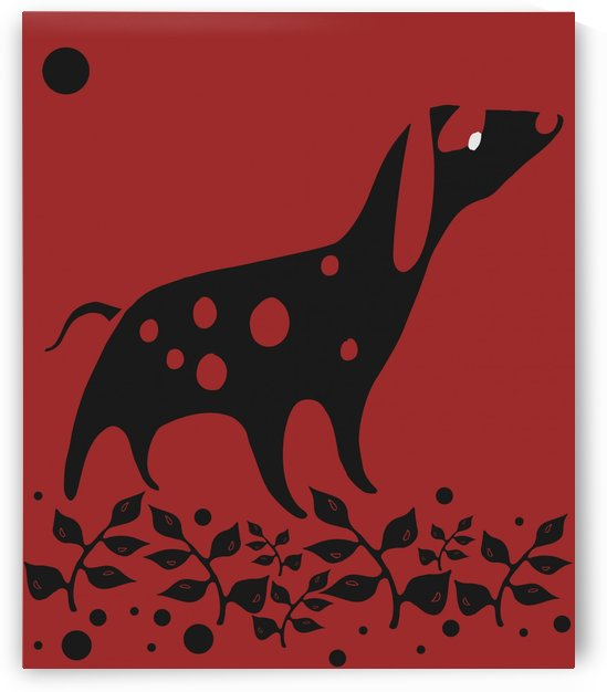 a little black dog walks in the night alone in the field silhouettes illustration vector by galih kusmawan