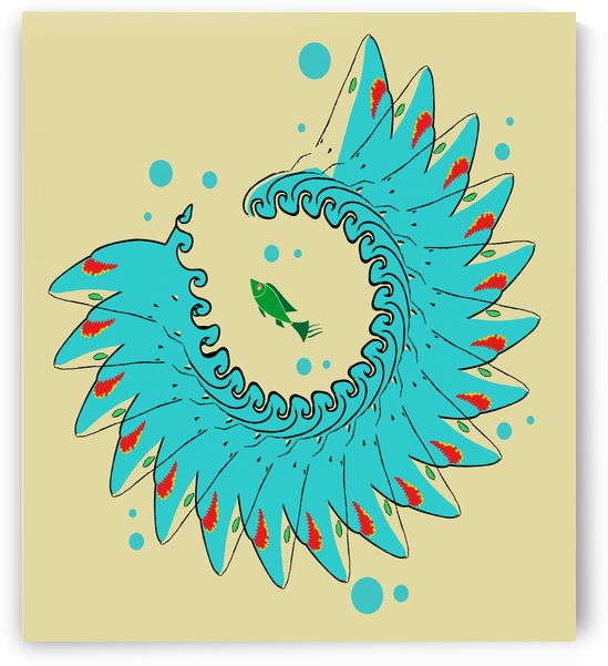 an abstract illustration about a big blue sea creature with a little green fish as a prey in brown background vector by galih kusmawan