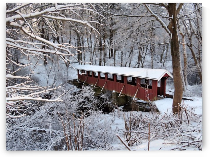 Red covered bridge  by Photography by Janice Drew