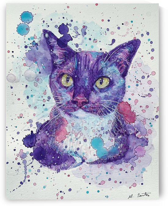 Tuxedo Cat - Portrait of Flash by Marie Santos - M Santos Art