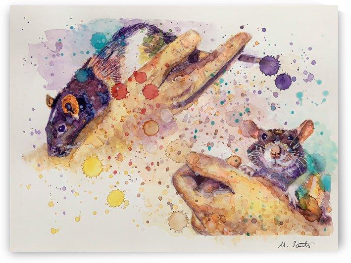 Rats - Portrait of Pixie and Peach by Marie Santos - M Santos Art