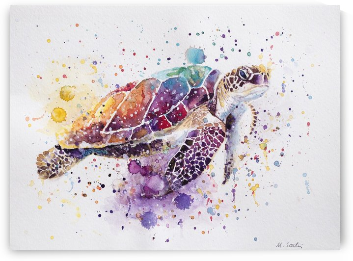 Rainbow Sea Turtle by Marie Santos - M Santos Art