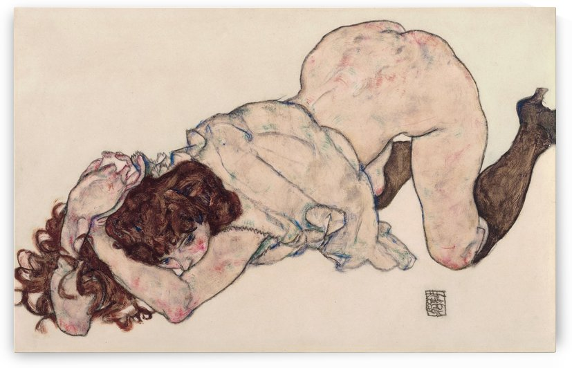 Kneeling Girl, Resting on Both Elbows by Egon Schiele