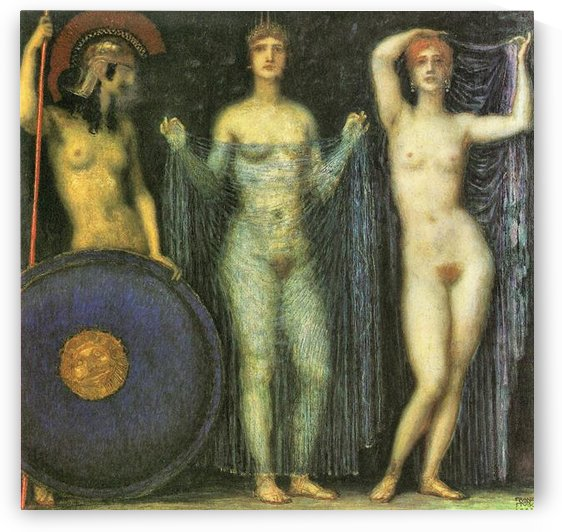 The three Goddesses Athena, Hera and Aphrodite by Franz von Stuck by Franz von Stuck