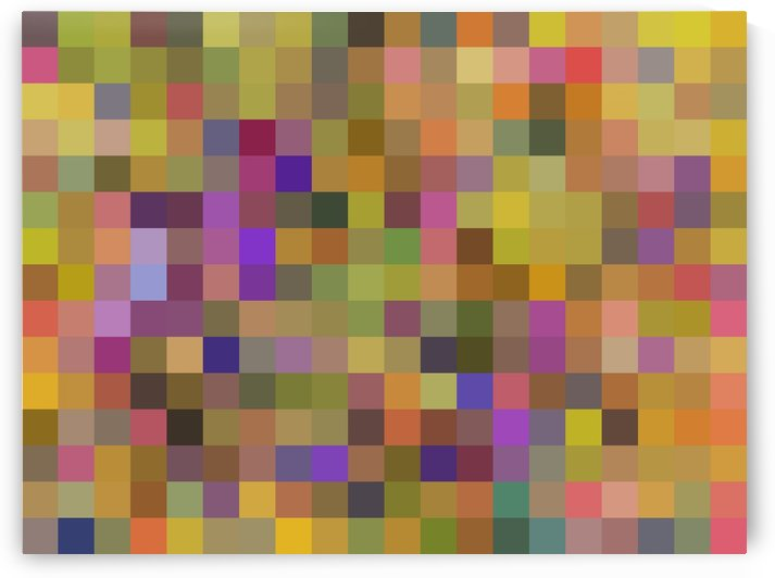 geometric square pixel pattern abstract in yellow green purple by TimmyLA