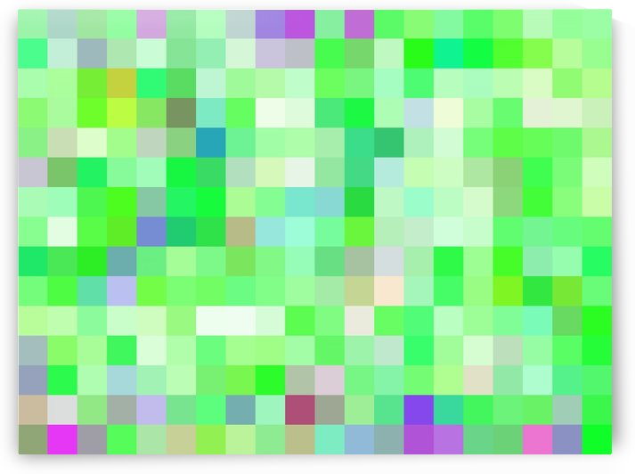 geometric square pixel pattern abstract background in green pink purple by TimmyLA