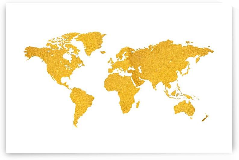 Golden World Map - White Background by Art Design Works