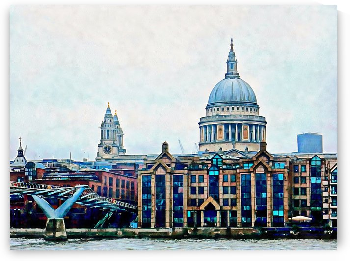 Millennium Bridge to St Pauls Cathedral London by Dorothy Berry-Lound