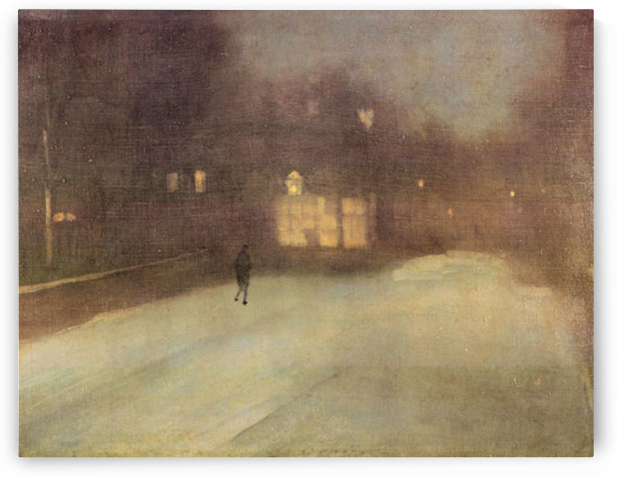 Nocturne in gray and gold, snow in Chelsea by James Abbot McNeill Whistler by James Abbot McNeill Whistler