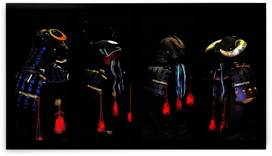 Memories of Samurai Black Armour Collage by Dorothy Berry-Lound