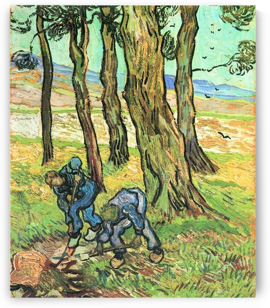Two men in digging out a tree stump by Van Gogh by Van Gogh
