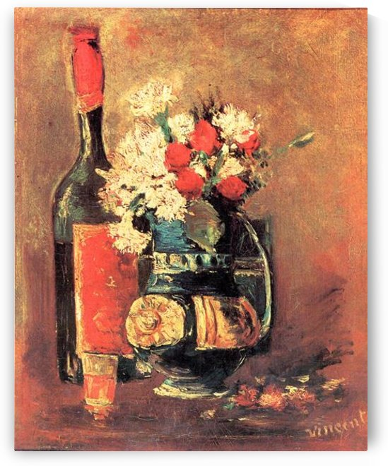 Vase of white carnations and rose and bottle by Van Gogh by Van Gogh