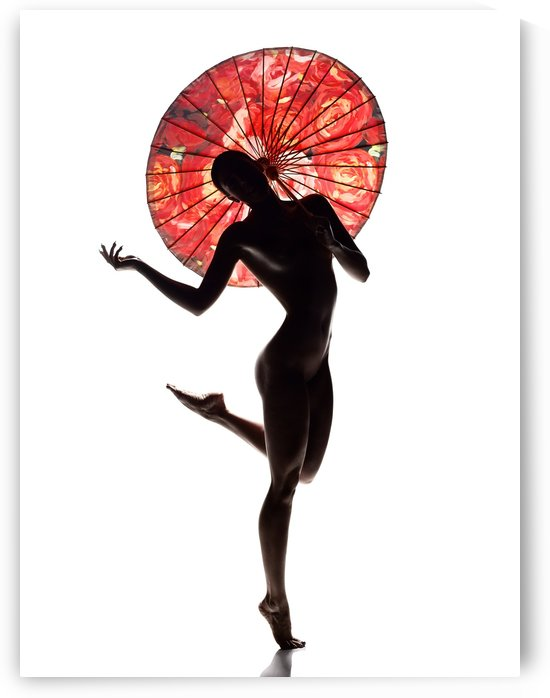 Nude woman with red parasol by Johan Swanepoel