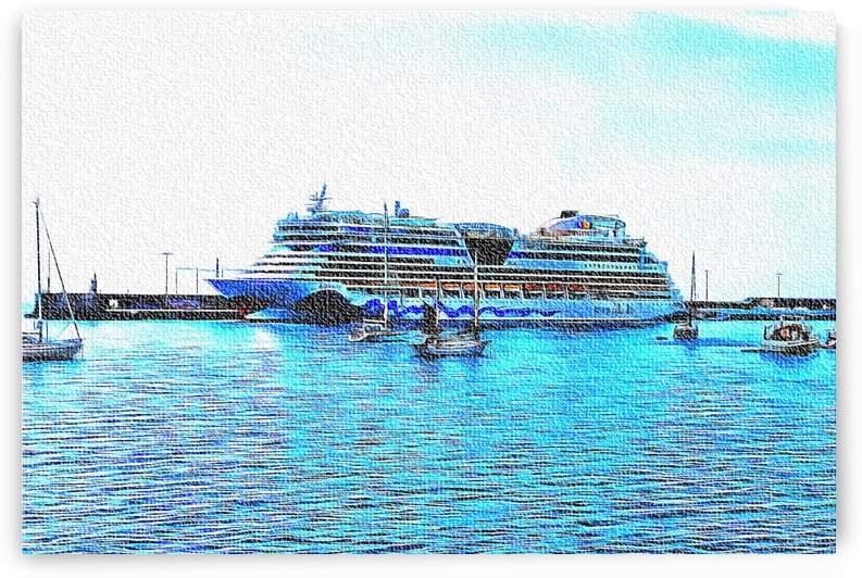 Cruise Liner Docked In Funchal Madeira by Dorothy Berry-Lound