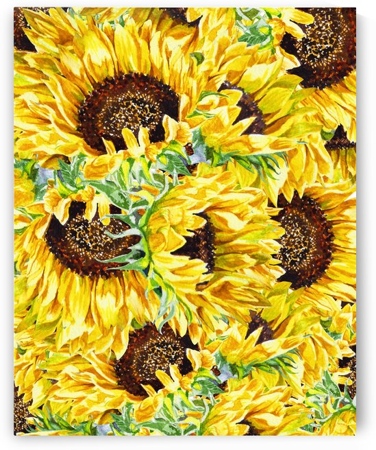 The Filed Of Watercolor Sunflowers Pattern by Irina Sztukowski