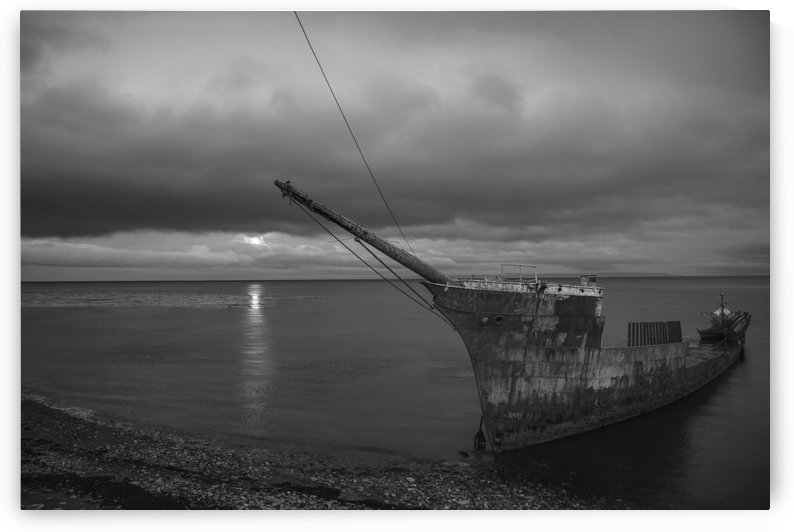 Washed Up Ship 3 B&W by Peter Kaple