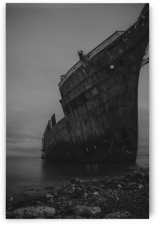 Washed Up Ship 1 B&W by Peter Kaple