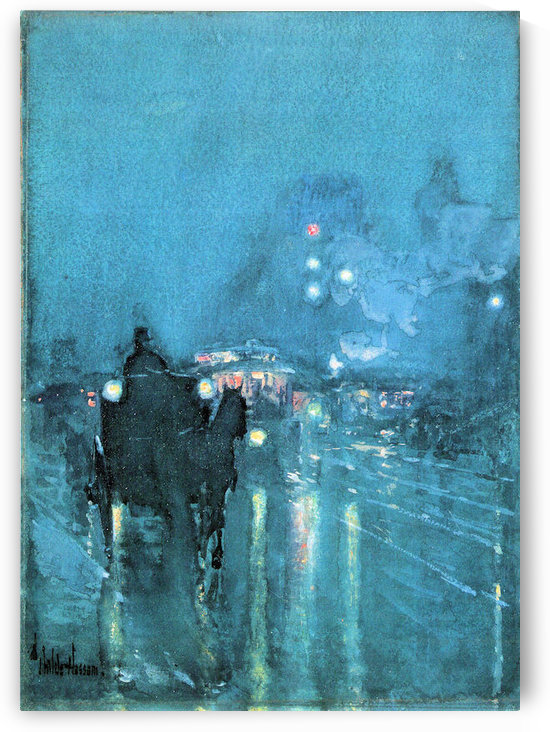 Nocturne, Railway Crossing, Chicago by Hassam by Hassam