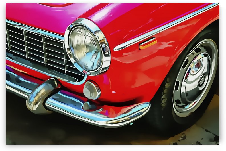 Fiat 1500 Cabriolet Red Front Detail by Dorothy Berry-Lound