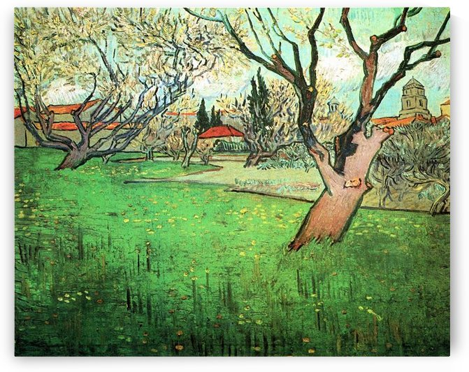 View of Arles with flowering tree by Van Gogh by Van Gogh