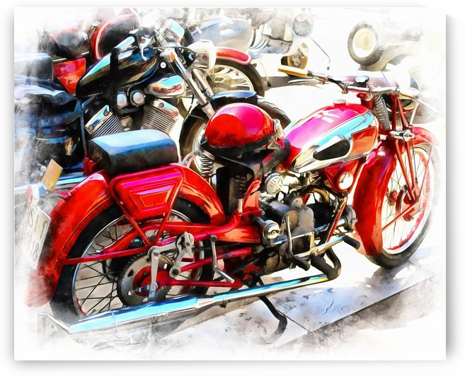 Red Moto Guzzi And Helmet by Dorothy Berry-Lound