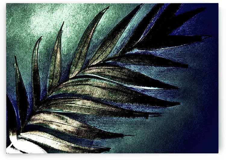GREEN METALLIC PALM TREE LEAF TROPICAL DESIGN by jacqueline mcculloch