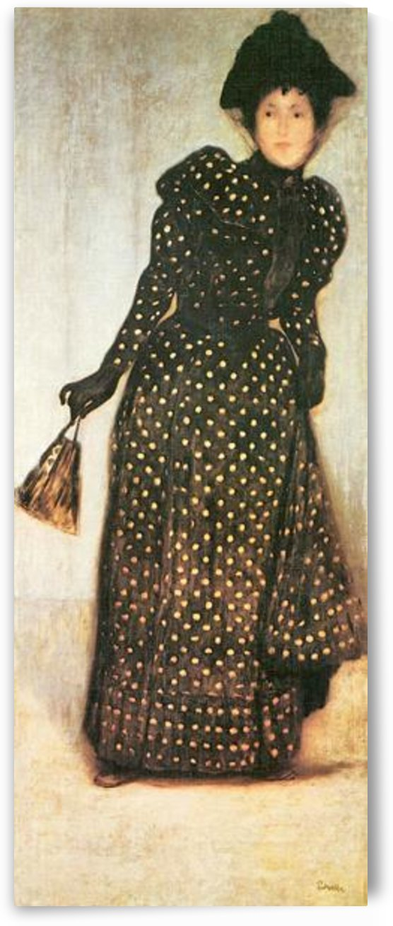 Woman with white-dotted dress by Giovanni Segantini by Giovanni Segantini