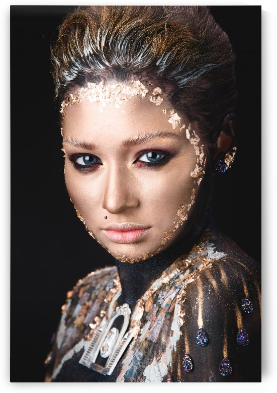 Portrait a girl with Golden icon painting makeup by Faces Studio