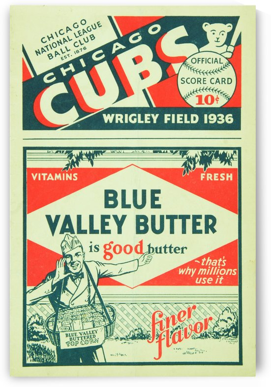 1936 Chicago Cubs Program Cover by Chad Dollick