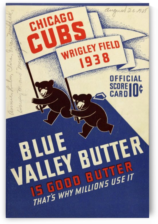 1938 Chicago Cubs Program Cover by Chad Dollick