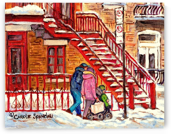 MONTREAL PAINTING OF WINTER SCENE COUPLE NEAR SPIRAL STAIRCASE  by Carole  Spandau