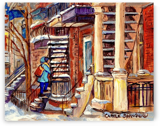 MONTREAL PAINTING PLATEAU MONT ROYAL WINTER SCENE GIRL WALKING OUTDOOR STAIRS by Carole  Spandau