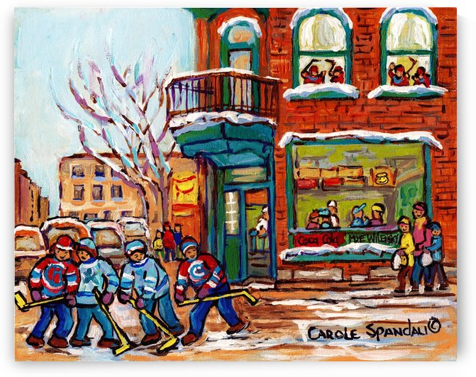 WILENSKY S DINER RUE FAIRMOUNT MONTREAL WINTER SCENE PAINTING WITH KIDS PLAYING HOCKEY by Carole  Spandau