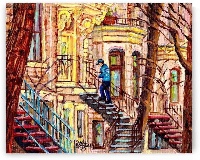 MAILMAN WALKING UP SPIRAL STAIRCASE PLATEAU MONT ROYAL MONTREAL STREET SCENE by Carole  Spandau