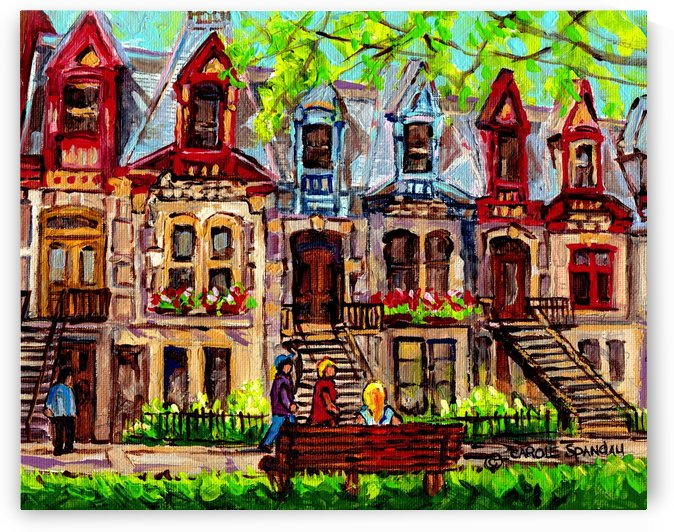CARRÉ ST LOUIS SQUARE SUMMER MONTREAL PAINTING SCENE  by Carole  Spandau